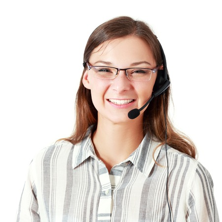 Support phone operator in headset, smiling young woman, isolated on white