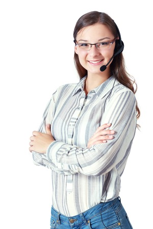 whitebackground: Support phone operator in headset, smiling young woman, isolated on white