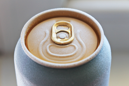 drink can: macro shot of frosted ised beer or fresh drink can top, covered with ice overfrosted, shallow depth