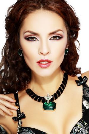 harem: Beautiful Arabic belly dancer harem woman face in black with silver dressdancing