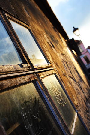 abstract photo of the window in the house close up with blue sky on it Stock Photo