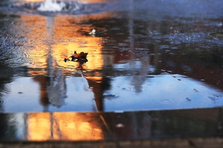 Water on asphalt with autumn leaf and city reflection. Trnava, Slovakia
