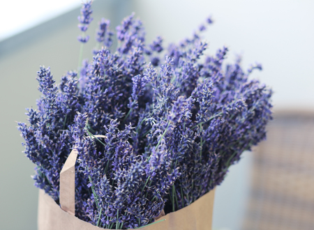 paper pack full of lavender flowers picked up. Summer time and harvest concept