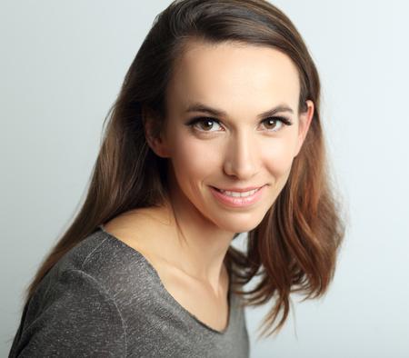 beautiful woman headshot over white background Stock Photo