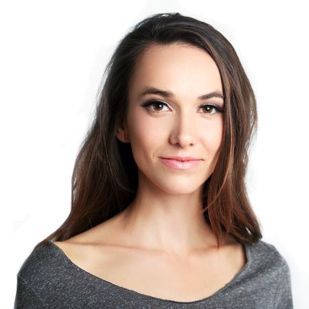 beautiful woman headshot over white background Standard-Bild