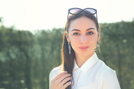 beautiful brunette woman portrait arabic or indian or latino