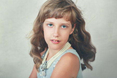 beautiful eight years girl contemporary portrait Reklamní fotografie