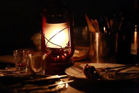 lantern on the dinner table, night darkness