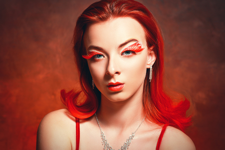 beautyful girl with red hair and red eyelashes, fantasy make-up