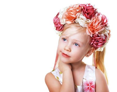 beautiful blond girl in flower crown Stock fotó