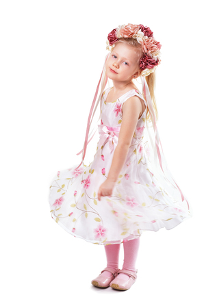 little girl in flower dress and wreath isolated Stock fotó