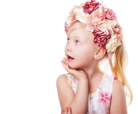 easter portrait of little blond girl wearing pink flower wreath or crown Stock fotó
