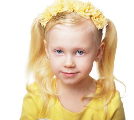 beautiful blond girl in flower crown 4 years old Stock fotó