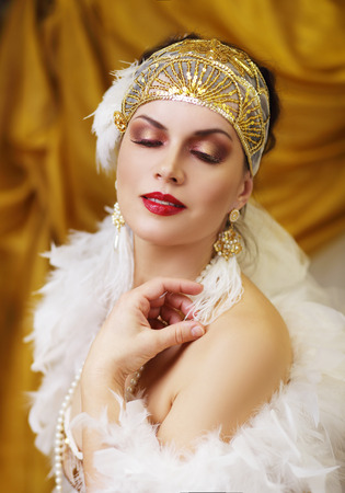 Beautiful woman retro flapper style woman