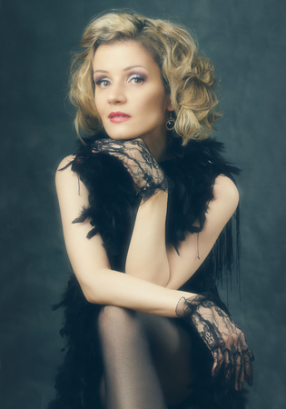 Beautiful  woman retro flapper style woman