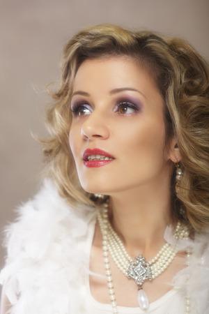 Beautiful woman retro flapper style Stock fotó