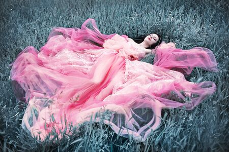 Beautiful young woman from fairy tale laying on silver grass