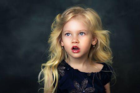 Shocked beautiful little girl open mouth Stock fotó