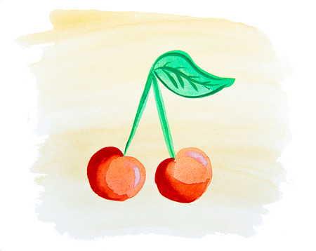 a sprig: red cherries with green sprig painted watercolor