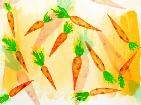 agriculture wallpaper: orange carrots with green stem painted in watercolor. Watercolor vegetables pattern