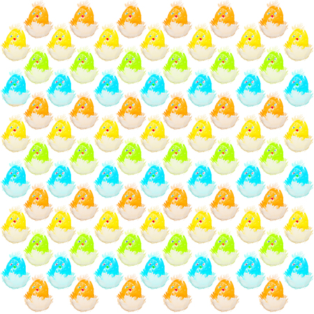 easter chick hatching pattern isolated Stock Photo