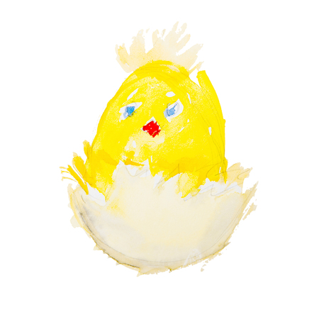 easter chick hatching isolated