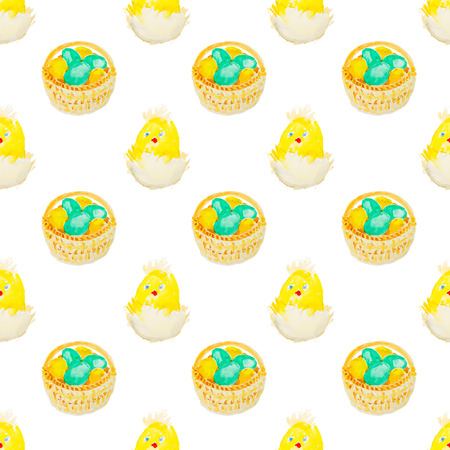 easter eggs in a basket pattern Stock Photo