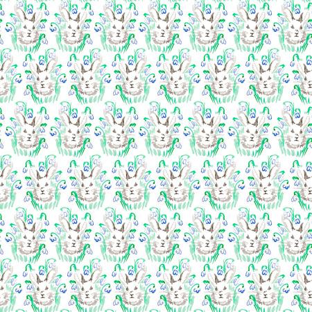 watercolor rabbit pattern Stock Photo