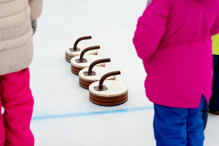 curling: Young girls playing curling