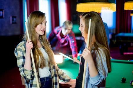 billiard: friends playing billiard