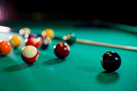 billiard balls on the table Stock Photo