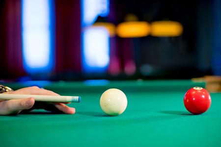 blow to the billiard balls Stock Photo