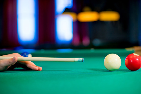 blow to the billiard balls Stock Photo
