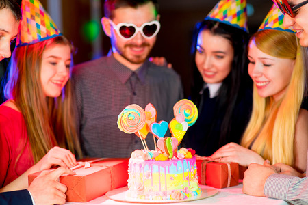 Young peoples birthday party Stock Photo