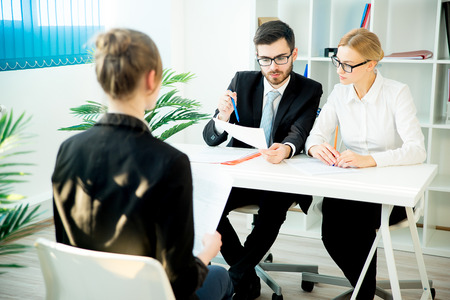 corporate women: Young woman on a job interview Stock Photo