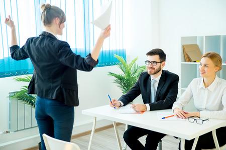 corporate women: Successful job interview Stock Photo