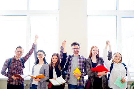 study group: Group of college students Stock Photo