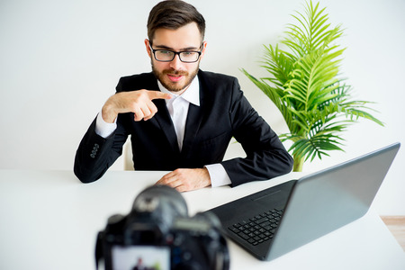 Male video blogger