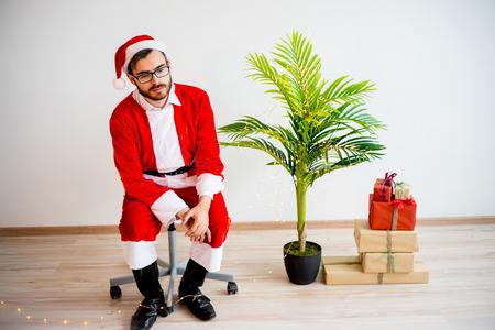 Model dressed as Santa Claus