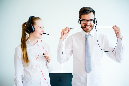 Call center stress Stock Photo