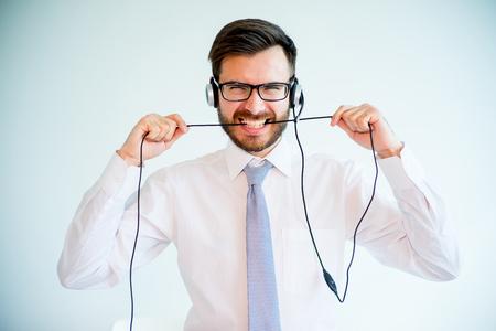 Call center stress Stock Photo