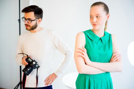 Female model working at studio