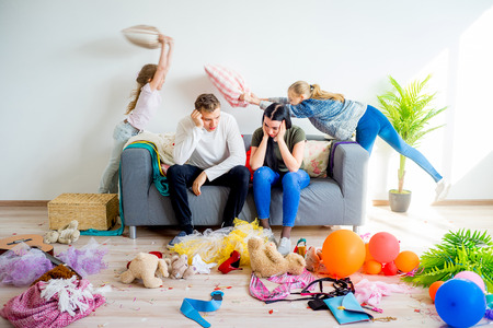 Kids romping at home Stockfoto