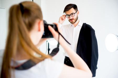 Professional photographer working at studio