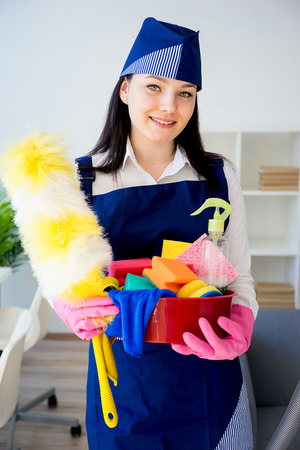 Cleaning service woman