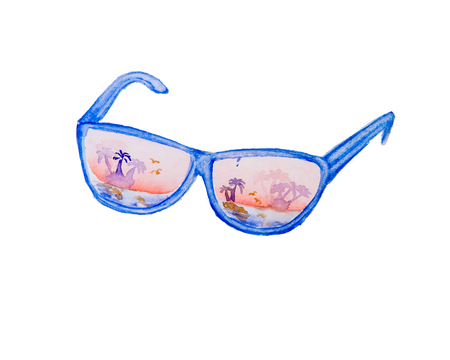 Watercolor drawing of sunglasses