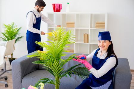 Equipo de servicio de limpieza Foto de archivo