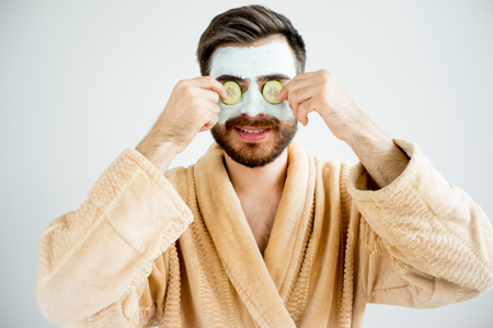 Man with a mud mask Foto de archivo