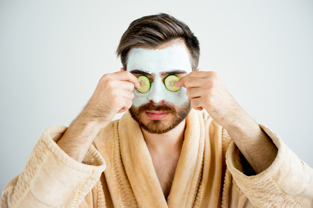 Man with a mud mask Stock Photo