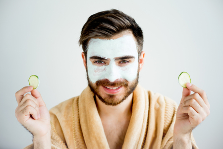 Man with a mud mask Standard-Bild